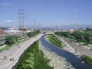 Rendering of a Revitalized Los Angeles River in Downtown L.A. (from the city of L.A.'s LA River Revitalization Master Plan)