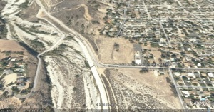 Google Earth image of Tujunga Wash and proposed development.  Click on image for enlargement.