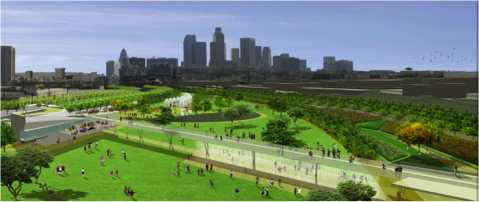 Rendering of Planned Los Angeles State Historic Park - View toward Downtown Los Angeles