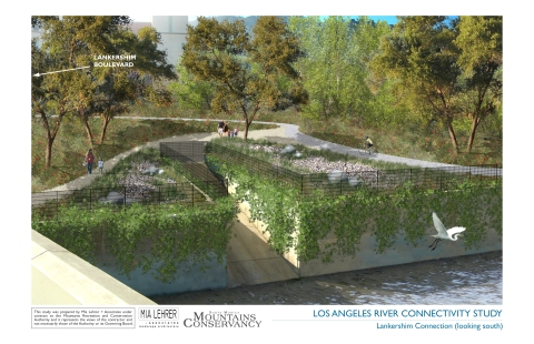 Rendering of Potential LA River Greenway upstream of Universal (view southwest from Lankershim Bridge)
