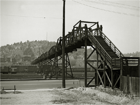 Historic Photo of the Pedestrian Bridge that spanned the Cornfield Yards (extending from Spring to Broadway)