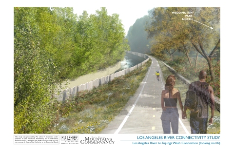 Proposed Greenway along the East Fork of the Tujunga Wash (parallels the 101 Freeway and enters the LA River at Weddington Park)