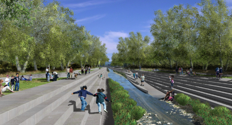 What the Los Angeles River could look like through Universal (Image from Los Angeles City Los Angeles River Revitalization Master Plan)