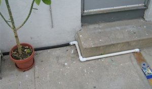 Greywater Pipe along base of wall