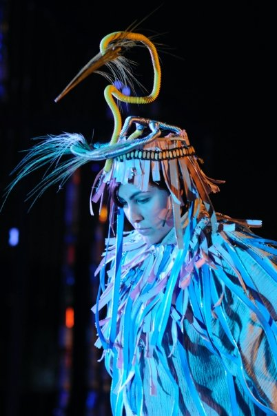 Rachel Garcia as the Great Blue Heron in Touch the Water, costume design by Soojin Lee - Photo copywright John Luker
