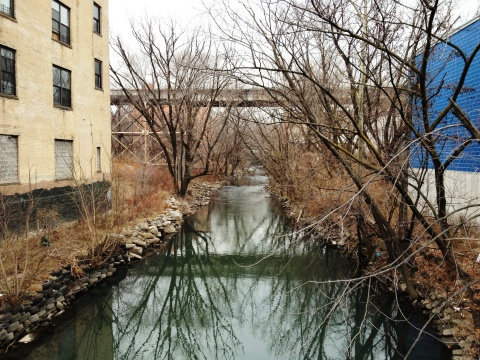 The Bronx River, as seen upstream from the Tremont Avenue Bridge